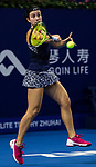 Anastasija Sevastova of Latvia hits a return during the singles Round Robin match of the WTA Elite Trophy Zhuhai 2017 against Barbora Strycova of Czech Republic at Hengqin Tennis Center on November  02, 2017 in Zhuhai, China.Photo by Yu Chun Christopher Wong / Power Sport Images