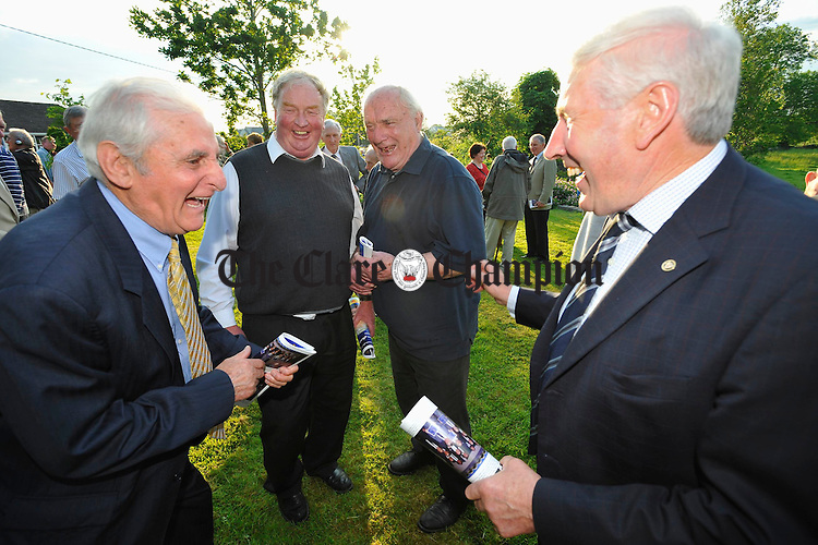 Tony Reddan, Enda Mulkere, Tom Mc Namara and  Noel Morris meet at the Ruan GAA night in honor of Jimmy Smyth. Photograph by John Kelly.
