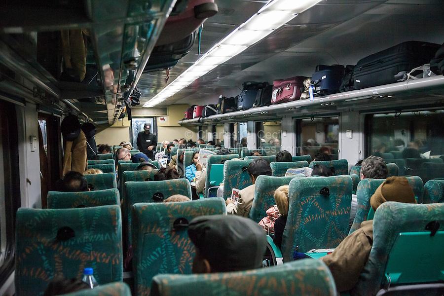 Agra, India.  Passenger Train Car en route to Agra from Delhi.