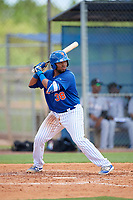 GCL Mets catcher Jose Mena (38) at bat during a game against the GCL Marlins on August 3, 2018 at St. Lucie Sports Complex in Port St. Lucie, Florida.  GCL Mets defeated GCL Marlins 3-2.  (Mike Janes/Four Seam Images)