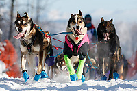 Shaynee Traska lead dogs run on the trail after leaving Willow during the Official Start of the 2018 Iditarod Sled Dog Race in Willow, Alaska on March 04, 2018. <br /> <br /> Photo by Jeff Schultz/SchultzPhoto.com  (C) 2018  ALL RIGHTS RESERVED
