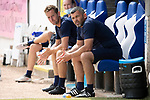 St Johnstone v Fleetwood Town…24.07.21  McDiarmid Park<br />Saints boss Callum Davidson in the dugout with Steven MacLean<br />Picture by Graeme Hart.<br />Copyright Perthshire Picture Agency<br />Tel: 01738 623350  Mobile: 07990 594431