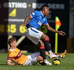 27.09.2020 Motherwell v Rangers:  Mark O'Hara tackles Alfredo Morelos