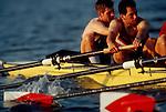 Rowing, Charles River, Cambridge, Massachusetts, Harvard varsity men's eight at the catch, Charles River, Cambridge, Massachusetts