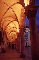 Vaulted roof of The Rectors Palace and Cathedral of the Assumption of the Virgin, illuminated at night..Dubrovnik Old Town. Croatia
