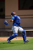 Toronto Blue Jays catcher Victor Mesia (28) catches a foul ball popup during an Extended Spring Training game against the Philadelphia Phillies on June 12, 2021 at the Carpenter Complex in Clearwater, Florida. (Mike Janes/Four Seam Images)