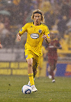 24 APRIL 2010:  Steven Lenhart of the Columbus Crew (32) during the Real Salt Lake at Columbus Crew MLS soccer game in Columbus, Ohio. Columbus Crew defeated RSL 1-0 on April 24, 2010.