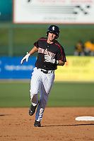 Michael Suiter (29) of the Kannapolis Intimidators rounds the bases after hitting a home run against the West Virginia Power at CMC-Northeast Stadium on April 21, 2015 in Kannapolis, North Carolina.  The Power defeated the Intimidators 5-3 in game one of a double-header.  (Brian Westerholt/Four Seam Images)