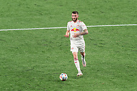 FOXBOROUGH, MA - MAY 22: Thomas Edwards #7 of New York Red Bulls brings the ball forward during a game between New York Red Bulls and New England Revolution at Gillette Stadium on May 22, 2021 in Foxborough, Massachusetts.