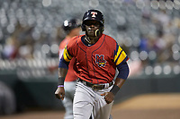 Daz Cameron (10) of the Toledo Mud Hens jogs towards home plate during the game against the Charlotte Knights at BB&T BallPark on April 23, 2019 in Charlotte, North Carolina. The Knights defeated the Mud Hens 11-9 in 10 innings. (Brian Westerholt/Four Seam Images)