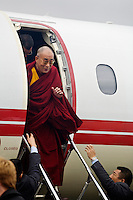 The14th DALAI LAMA arrives via private jet to teach  ATISHA'S LAMP FOR THE PATH TO ENLIGHTENMENT October 2007 - TIBETAN CULTURAL CENTER,  BLOOMINGTON, INDIANA