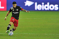 WASHINGTON, DC - SEPTEMBER 27: Junior Moreno #5 of D.C. United moves the ball during a game between New England Revolution and D.C. United at Audi Field on September 27, 2020 in Washington, DC.