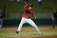 Birmingham Barons relief pitcher Andrew Perez (14) in action against the Mississippi Braves at Regions Field on August 3, 2021, in Birmingham, Alabama. (Brian Westerholt/Four Seam Images)