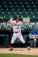 Bradenton Marauders Lucas Tancas (27) bats during a Florida State League game against the St. Lucie Mets on July 28, 2019 at LECOM Park in Bradenton, Florida.  Bradenton defeated St. Lucie 7-3.  (Mike Janes/Four Seam Images)