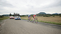 Martin Elmiger (SUI/IAM) & Jack Bauer (NZL/Garmin-Sharp) as a 2 man breakaway group on their way to the finish. They left early in the stage and won't see the peloton again until they get the finish one in sight.<br /> <br /> 2014 Tour de France<br /> stage 15: Tallard - Nîmes (222km)