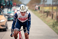 Toms Skujins (LVA/Trek-Segafredo)<br /> <br /> 44th AG Driedaagse Brugge-De Panne 2020 (1.UWT / BEL)<br /> 1 day race from Brugge to De Panne (203km shortened to 188km due to the windy weather conditions) <br /> <br /> ©kramon