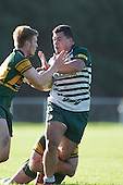 Caught around the legs by Joe Reynolds, Michael Lea tries to fend off Joshua Baverstock as he fights his way forward. Counties Manukau Premier Club Rugby game between Pukekohe and Manurewa, played at Colin Lawrie Fields, Pukekohe, on Saturday May 28th, 2016. Pukekohe won the game 62 - 18 after leading 19 - 10 at halftime. Photo by Richard Spranger.
