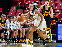 COLLEGE PARK, MD - FEBRUARY 13: Stephanie Jones #24 of Maryland starts an attack during a game between Iowa and Maryland at Xfinity Center on February 13, 2020 in College Park, Maryland.