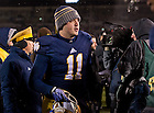 Nov. 23, 2013; Quarterback Tommy Rees leaves the field after the game against BYU.<br /> <br /> Photo by Matt Cashore