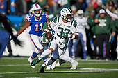 New York Jets Jamal Adams (33) runs up field after recovering a fumble during an NFL football game against the Buffalo Bills, Sunday, December 9, 2018, in Orchard Park, N.Y.  (Mike Janes Photography)