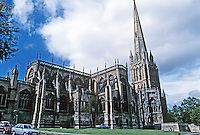 Bristol: Church of St. Mary Redcliffe. Wide angle elevation from northeast. Photo '90.