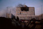 Moscow, Russia.October 4, 1993..Russian Special Forces and tank units take up position in front of the Parliament building after Russian tanks and the army fired directly into the face of the building to dislodge hundreds of well armed anti-Yeltsin demonstrators held up inside. The demonstrators were later either killed or arrested by the military. Numerous tank rounds were fired into the face of the building throughout the day with the upper floors catching fire and burning into the night...Russian troops take control and surround the building.
