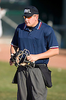Home plate umpire Tyler Wilson during a Midwest League game between the Lansing Lugnuts and the South Bend Silver Hawks at Coveleski Stadium April 15, 2009 in South Bend, Indiana. (Photo by Brian Westerholt / Four Seam Images)