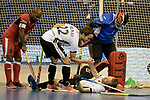 Berlin, Germany, February 09: During the FIH Indoor Hockey World Cup Pool A group match between Germany (white) and Trinidad and Tobago(red) on February 9, 2018 at Max-Schmeling-Halle in Berlin, Germany. Final score 10-2. (Photo by Dirk Markgraf / www.265-images.com) *** Local caption *** Marco MILTKAU #22 of Germany, Fabian PEHLKE #23 of Germany