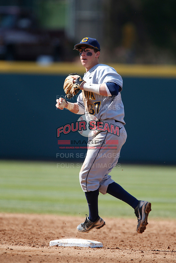 Mike Reuvekamp #37 of the California Golden Bears during a game against the UCLA Bruins at Jackie Robinson Stadium on March 23, 2013 in Los Angeles, California. (Larry Goren/Four Seam Images)
