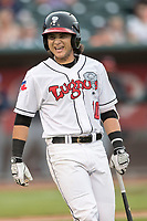 Lansing Lugnuts shortstop Bo Bichette (10) reacts to striking out during the Midwest League baseball game against the Bowling Green Hot Rods on June 29, 2017 at Cooley Law School Stadium in Lansing, Michigan. Bowling Green defeated Lansing 11-9 in 10 innings. (Andrew Woolley/Four Seam Images)