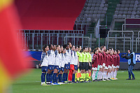 line-up teams pictured before the 2nd Womens International Friendly game between France and Switzerland at Stade Saint-Symphorien in Longeville-lès-Metz, France.