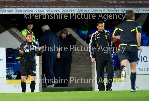 St Johnstone v Morton..24.08.10  CIS Cup Round 2.Derek McInnes goes nuts at ref Crawford Allan after he thought his team should have been awarded a penalty.Picture by Graeme Hart..Copyright Perthshire Picture Agency.Tel: 01738 623350  Mobile: 07990 594431