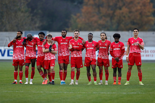 8th November 2020; SkyEx Community Stadium, London, England; Football Association Cup, Hayes and Yeading United versus Carlisle United; Hayes and Yeading United  players watching action during the penalty shoot out