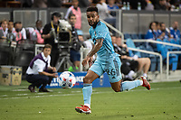SAN JOSE, CA - AUGUST 17: DJ Taylor #26 of Minnesota United dribbles the ball during a game between San Jose Earthquakes and Minnesota United FC at PayPal Park on August 17, 2021 in San Jose, California.