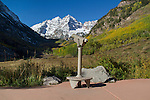 Telescope pointed to the Maroon Bells in autumn, Aspen, Colorado, John offers autumn photo tours throughout Colorado. John offers fall foliage photo tours throughout Colorado.