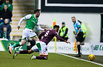 03.03.2020 Hibs v Hearts: Marc McNulty and Sean Clare