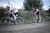 Jonas Rickaert (BEL/Corendon Circus) ahead of Belgian Champion Tim Merlier (BEL/Corendon Circus) on a off-road sector<br /> <br /> Antwerp Port Epic 2019 <br /> One Day Race: Antwerp > Antwerp 187km<br /> <br /> ©kramon