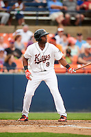 Frederick Keys designated hitter Aderlin Rodriguez (9) at bat during a game against the Carolina Mudcats on June 4, 2016 at Nymeo Field at Harry Grove Stadium in Frederick, Maryland.  Frederick defeated Carolina 5-4 in eleven innings.  (Mike Janes/Four Seam Images)