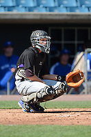 Catcher JJ Schwarz (22) of Palm Beach Gardens High School in Palm Beach Gardens, Florida playing for the Colorado Rockies scout team during the East Coast Pro Showcase on August 2, 2013 at NBT Bank Stadium in Syracuse, New York.  (Mike Janes/Four Seam Images)