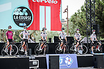 Team Sunweb at the presentation before the start of La Course By Le Tour de France 2020, running 96km from Nice to Nice, France. 29th August 2020.<br /> Picture: ASO/Thomas Maheux | Cyclefile<br /> All photos usage must carry mandatory copyright credit (© Cyclefile | ASO/Thomas Maheux)