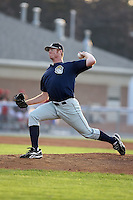 August 22 2008:  Starting pitcher Russell Young of the Mahoning Valley Scrappers, Class-A affiliate of the Cleveland Indians, during a game at Dwyer Stadium in Batavia, NY.  Photo by:  Mike Janes/Four Seam Images