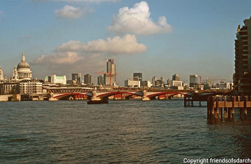 London:  Thameside Walk #12.  St. Paul's, left;  Center, Blackfriars Bridge & Railway Bridge visible behind.  Photo '90.