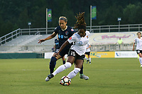 Cary, North Carolina  - Wednesday May 24, 2017: Kayla Mills and Jaelene Hinkle during a regular season National Women's Soccer League (NWSL) match between the North Carolina Courage and the Sky Blue FC at Sahlen's Stadium at WakeMed Soccer Park. The Courage won the game 2-0.