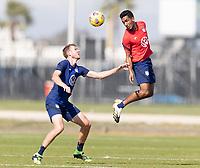 BRADENTON, FL - JANUARY 23: Jesus Ferreira wins the header during a training session at IMG Academy on January 23, 2021 in Bradenton, Florida.