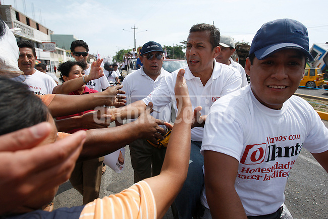 Presidential candidate Ollanta Humala in campaign in Trujillo, Peru, Wednesday, March 23, 2011.