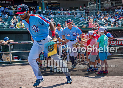 23 June 2019: New Hampshire Fisher Cats outfielder Josh Palacios leads the team out of the dugout prior to a game against the Trenton Thunder at Northeast Delta Dental Stadium in Manchester, NH. The Thunder defeated the Fisher Cats 5-2 in Eastern League play. Mandatory Credit: Ed Wolfstein Photo *** RAW (NEF) Image File Available ***
