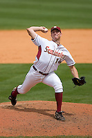 Relief pitcher Austin Wood #14 of the Florida State Seminoles in action versus the Georgia Tech Yellow Jackets at Durham Bulls Athletic Park May 23, 2009 in Durham, North Carolina.  (Photo by Brian Westerholt / Four Seam Images)