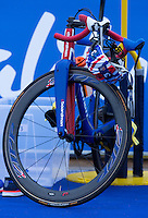 31 MAY 2015 - LONDON, GBR - The bike of Jonathan Brownlee (GBR) from Great Britain stands racked in transition before the start of the elite men's 2015 ITU World Triathlon Series round in Hyde Park, London, Great Britain (PHOTO COPYRIGHT © 2015 NIGEL FARROW, ALL RIGHTS RESERVED)
