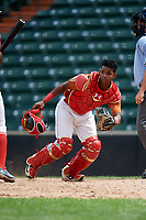 Kenny Baez (8) tracks down a loose ball during the Dominican Prospect League Elite Underclass International Series, powered by Baseball Factory, on July 21, 2018 at Schaumburg Boomers Stadium in Schaumburg, Illinois.  (Mike Janes/Four Seam Images)
