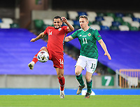 7th September 2020; Windsor Park, Belfast, County Antrim, Northern Ireland; EUFA Nations League, Group B, Northern Ireland versus Norway; Omar Elabdellaoui of Norway and Northern Ireland's Shane Ferguson compete for the ball